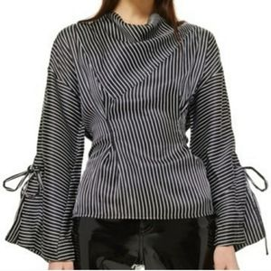 Topshop black and white satin blouse Sz 10